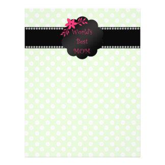 World's best mom green polka dots 21.5 cm x 28 cm flyer