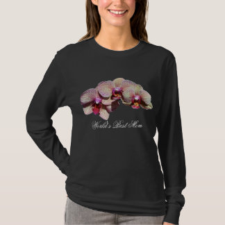 World's Best Mom Orchids Flower Dark T-Shirt