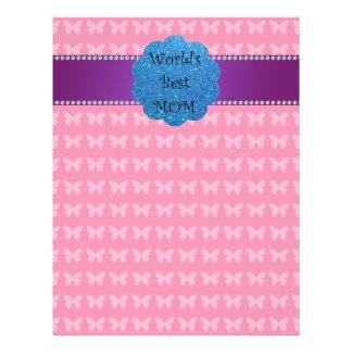 World's best mom pink butterflies 21.5 cm x 28 cm flyer