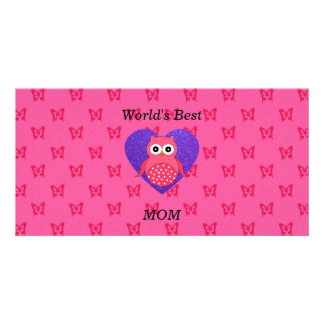 Worlds best mom pink owl photo card template