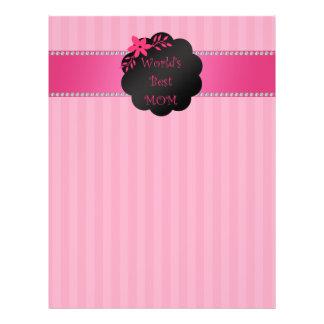 World's best mom pink stripes 21.5 cm x 28 cm flyer