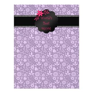 World's best mom purple flowers 21.5 cm x 28 cm flyer