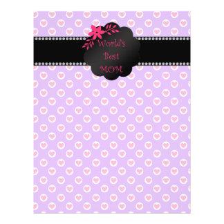 World's best mom purple heart polka dots 21.5 cm x 28 cm flyer