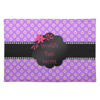 World's best mom purple heart polka dots placemat