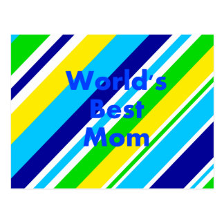 Worlds Best Mom Summer Stripes Teal Lime Yellow Postcard