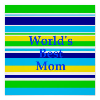 Worlds Best Mom Summer Stripes Teal Lime Yellow Print