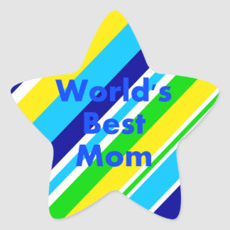 Worlds Best Mom Summer Stripes Teal Lime Yellow Star Sticker