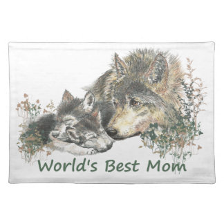 World's Best Mom Wolf & Cubs Animal Watercolor Placemat