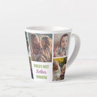 World's Best Mother Instagram Photo Collage Name Latte Mug