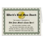 World's Best Mum Award Certificate Card