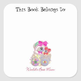World's Best Mum (bears) Square Sticker