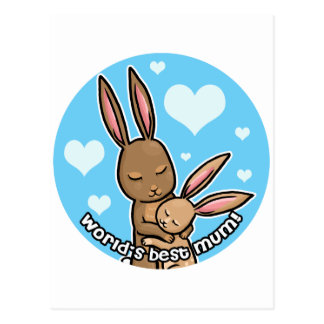 Worlds best Mum Bunny Postcard