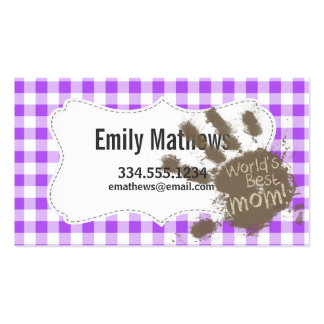 World's Best Mum; Purple Chequered Gingham Pack Of Standard Business Cards
