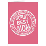 World's Best mum rubber stamp effect Greeting Cards