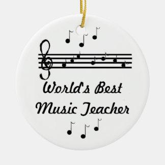 World's Best Music Teacher Round Ceramic Decoration