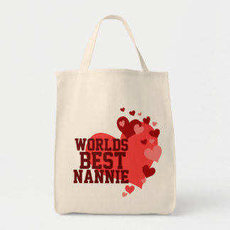 Worlds Best Nannie Personalized Grocery Tote Bag