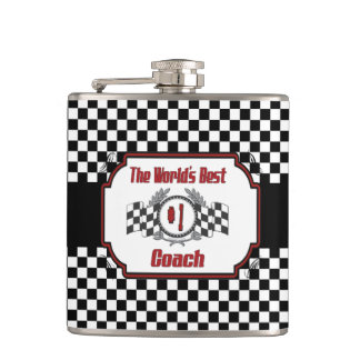 World's Best Number One Coach Checkered Flag Flasks