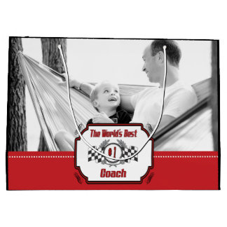World's Best Number One Coach Checkered Flag Large Gift Bag