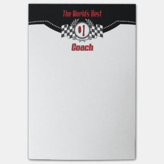 World's Best Number One Coach Checkered Flag Post-it® Notes