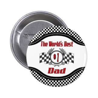 World's Best Number One Dad Racing Theme 6 Cm Round Badge