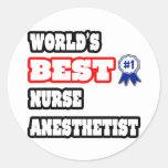 World's Best Nurse Anaesthetist Round Sticker