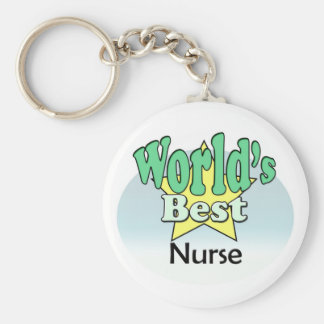 World's best Nurse Basic Round Button Key Ring