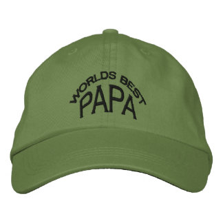 World's Best Papa Hat (dark letters) Embroidered Baseball Cap