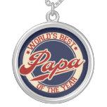 World's Best Papa Round Pendant Necklace