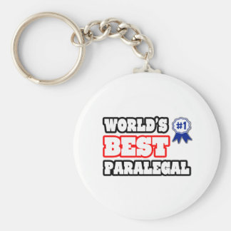 World's Best Paralegal Basic Round Button Key Ring