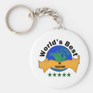 World's Best PE Teacher Basic Round Button Key Ring