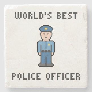 World's Best Pixel Policeman Stone Coaster