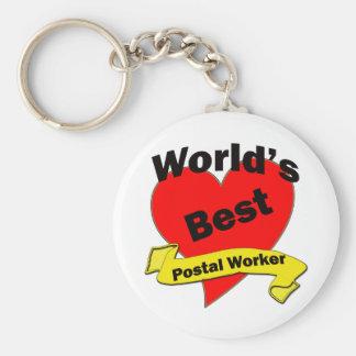 World's Best Postal Worker Basic Round Button Key Ring
