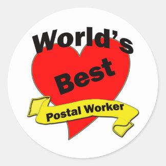 World's Best Postal Worker Round Sticker