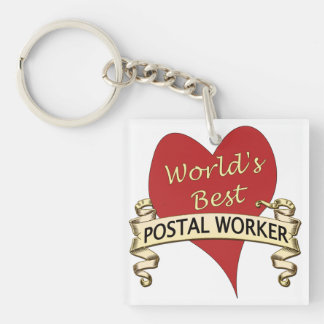 World's Best Postal Worker Single-Sided Square Acrylic Key Ring