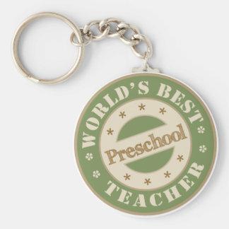 Worlds Best Preschool Teacher Basic Round Button Key Ring
