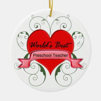 World's Best Preschool Teacher Round Ceramic Decoration