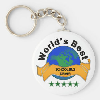 World's Best School Bus Driver Basic Round Button Key Ring