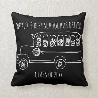 World's Best School Bus Driver in White Add Year Cushion