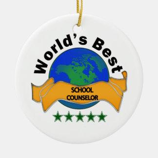 World's Best School Counselor Round Ceramic Decoration