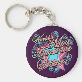 Worlds Best Sister Basic Round Button Key Ring