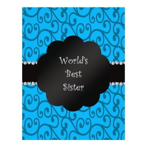 World's best sister blue swirls flyers
