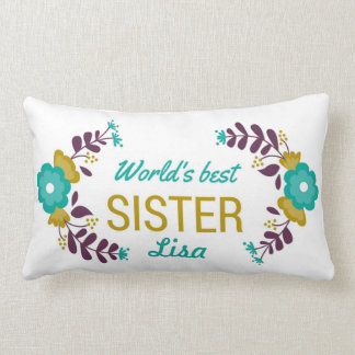 World's Best Sister Customized Floral Wreath II Lumbar Cushion