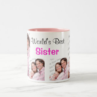 World's Best Sister Photo Mug PInk