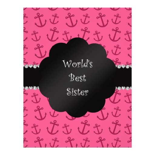 World's best sister pink anchors personalized flyer
