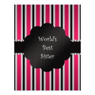 World's best sister pink black stripes custom flyer