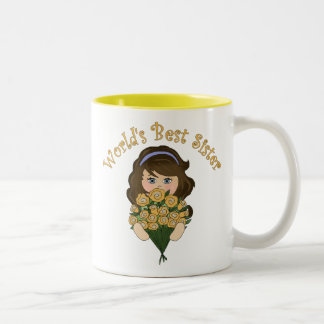 World's Best Sister Tees and Gifts Two-Tone Coffee Mug