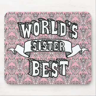 World's Best Sister Text Floral Mousepad