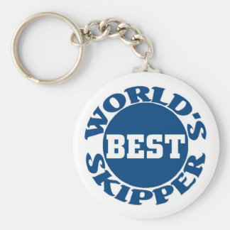 World's Best Skipper Basic Round Button Key Ring