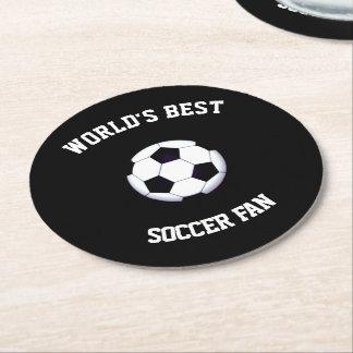World's Best Soccer Fan Round Paper Coaster