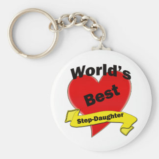 World's Best Step-Daughter Basic Round Button Key Ring